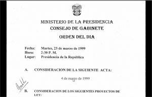 Consejo de Gabinete de 4 y 23 de marzo de 1999