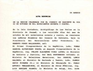 Consejo de Gabinete 22 de octubre de 1994