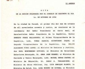 Consejo de Gabinete 1 de octubre de 1994