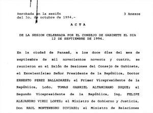 Consejo de Gabinete 12 de septiembre de 1994