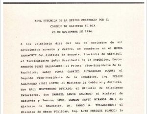 Consejo de Gabinete 26 de noviembre de 1994