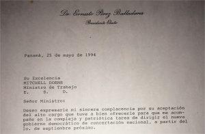 Correspondencia Pérez Balladares a miembros de su Gabinete