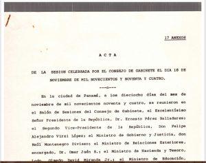 Consejo de Gabinete 18 de noviembre de 1994