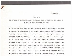 Sesión Extraordinaria Consejo de Gabinete 15 de diciembre de 1994