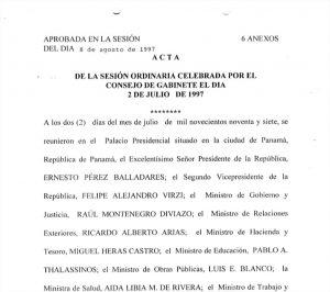 Consejo de Gabinete 2 de julio de 1997