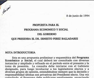 Propuesta para el programa económico y social – 8 de junio de 1994