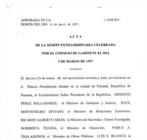 Sesión Extraordinaria Consejo de Gabinete 3 de marzo de 1997