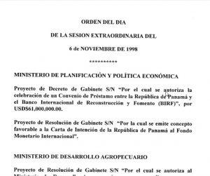 Sesión Extraordinaria Consejo de Gabinete 6 de noviembre de 1998