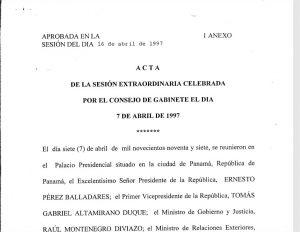 Sesión Extraordinaria Consejo de Gabinete 7 de abril de 1997
