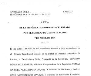 Consejo de Gabinete de 13, 26 de marzo y 7 de abril de 1998