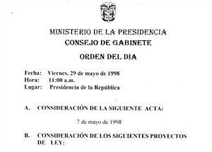 Consejo de Gabinete de 7-29 de mayo y 18 de junio de 1998
